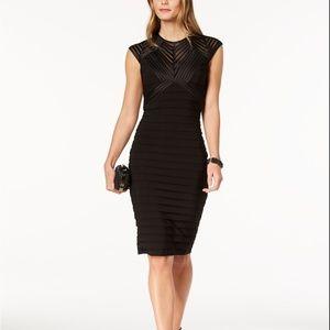 Betsy & Adam Banded Sheath Dress Black Size 12